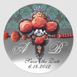 RED CORAL ROSES, BLUE BLACK WHITE DAMASK MONOGRAM CLASSIC ROUND STICKER