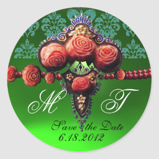 RED CORAL ROSES,BLUE EMERALD GREEN DAMASK MONOGRAM CLASSIC ROUND STICKER