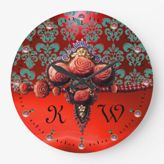 RED CORAL ROSES,BLUE RED RUBY DAMASK MONOGRAM WALL CLOCKS
