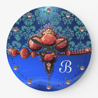 RED CORAL ROSES,BLUE SAPPHIRE DAMASK MONOGRAM CLOCK