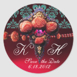 RED CORAL ROSES,BURGUNDY RUBY DAMASK MONOGRAM ROUND STICKER