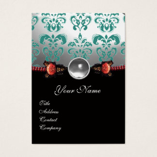RED CORAL ROSES,GREEN BLACK WHITE DAMASK MONOGRAM BUSINESS CARD