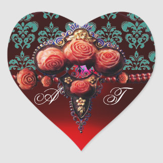 RED CORAL ROSES, RUBY DAMASK HEART MONOGRAM HEART STICKER