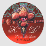 RED CORAL ROSES,RUBY DAMASK MONOGRAM ROUND STICKERS