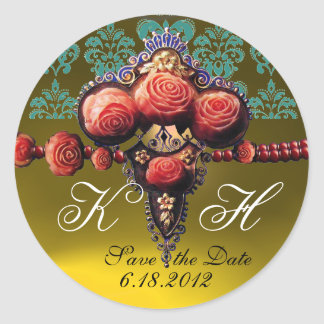 RED CORAL ROSES,YELLOW TOPAZ DAMASK MONOGRAM CLASSIC ROUND STICKER
