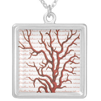 Red Coral Square Pendant Necklace