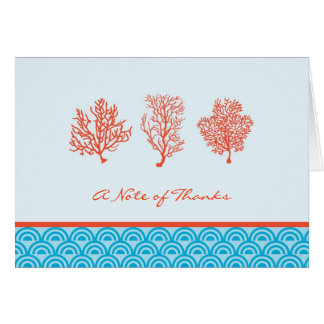 Red Coral Thank You or Note Card