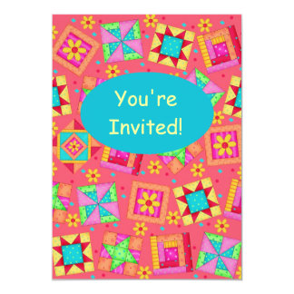 Red Coral Turquoise Patchwork Quilt Block Art 5x7 Paper Invitation Card