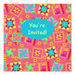 Red Coral Turquoise Patchwork Quilt Block Art Invitation