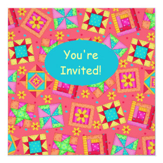 Red Coral Turquoise Patchwork Quilt Block Art 5.25x5.25 Square Paper Invitation Card