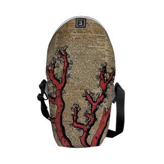 Red Coral Vintage Illustration Dictionary Art Courier Bag