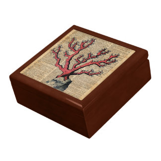 Red Coral Vintage Illustration Dictionary Art Gift Box