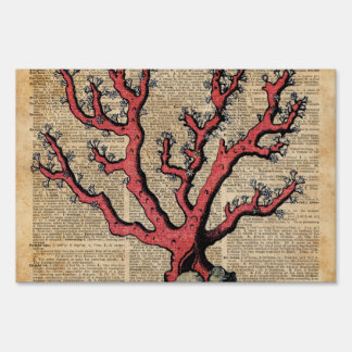 Red Coral Vintage Illustration Dictionary Art Sign
