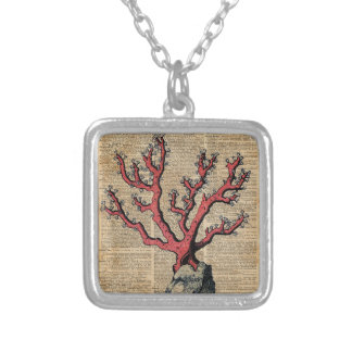 Red Coral Vintage Illustration Dictionary Art Silver Plated Necklace