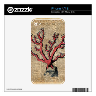 Red Coral Vintage Illustration Dictionary Art Skins For The iPhone 4