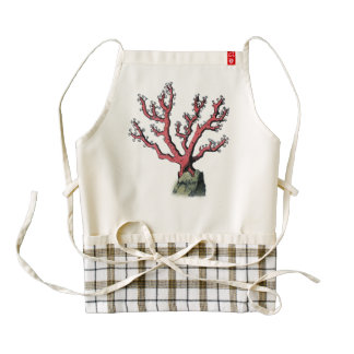Red Coral Vintage Illustration Dictionary Art Zazzle HEART Apron