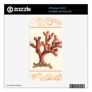 Red Coral with Conch Shell Border Decals For The iPhone 4S