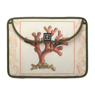Red Coral with Conch Shell Border MacBook Pro Sleeve