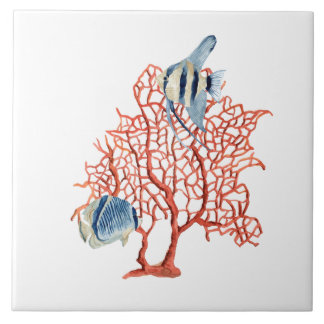 Red Coral with Tropical Fish, Angelfish Watercolor Ceramic Tile