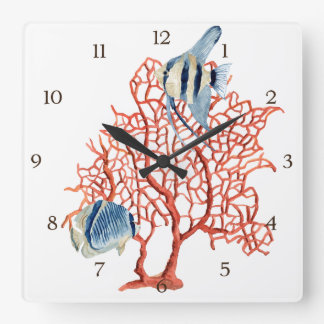 Red Coral with Tropical Fish, Angelfish Watercolor Square Wallclocks