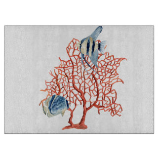 Red Coral with Tropical Fish, Angelfish Watercolor Cutting Board