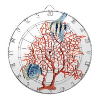 Red Coral with Tropical Fish, Angelfish Watercolor Dart Board