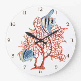 Red Coral with Tropical Fish, Angelfish Watercolor Large Clock