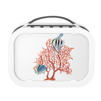 Red Coral with Tropical Fish, Angelfish Watercolor Lunch Box