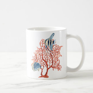 Red Coral with Tropical Fish, Angelfish Watercolor Classic White Coffee Mug