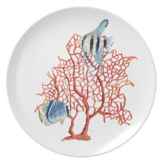 Red Coral with Tropical Fish, Angelfish Watercolor Plate