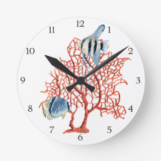 Red Coral with Tropical Fish, Angelfish Watercolor Round Clock