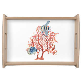 Red Coral with Tropical Fish, Angelfish Watercolor Serving Tray