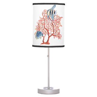 Red Coral with Tropical Fish, Angelfish Watercolor Table Lamp