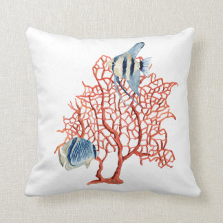 Red Coral with Tropical Fish, Angelfish Watercolor Throw Pillow