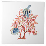 Red Coral with Tropical Fish, Angelfish Watercolor Ceramic Tiles