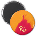 Red Corcovado Rio-Brasil 2 Inch Round Magnet