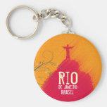 Red Corcovado Rio-Brasil Basic Round Button Keychain
