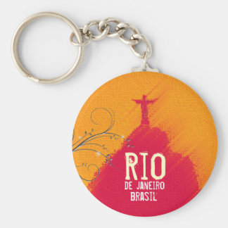 Red Corcovado Rio-Brasil Basic Round Button Keychain