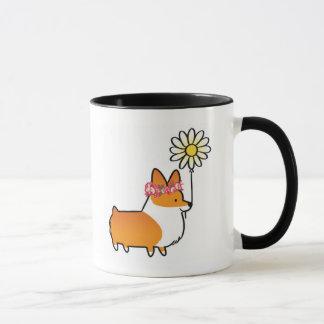 Red Corgi Flower Power Mug | CorgiThings