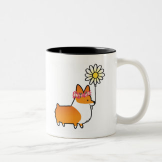 Red Corgi Flower Power Mug | CorgiThings