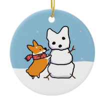 Red Corgi Snowman Ornament | CorgiThings
