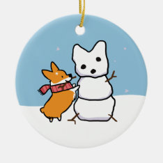 Red Corgi Snowman Ornament | Corgithings at Zazzle