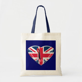 Red Corkscrew Stiletto and 3D Union Jack Heart Budget Tote Bag
