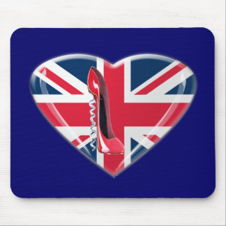 Red Corkscrew Stiletto and 3D Union Jack Heart Mouse Pad