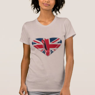 Red Corkscrew Stiletto and 3D Union Jack Heart T-Shirt