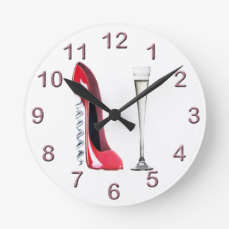 Red Corkscrew Stiletto and Champagne Flute Clock