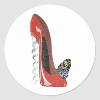 Red Corkscrew Stiletto Shoe and Butterfly Gifts Ar Classic Round Sticker