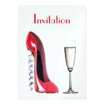 Red Corkscrew Stiletto Shoe and Champagne Glass In Invitations