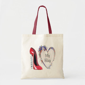 Red Corkscrew Stiletto Shoe and Floral Heart Gifts Budget Tote Bag