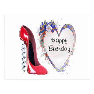 Red Corkscrew Stiletto Shoe and Floral Heart Gifts Postcard